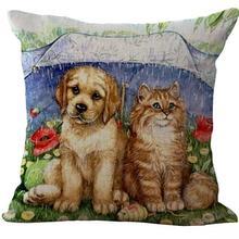 Cat Dog Printed Cotton Linen Throw Pillow Case