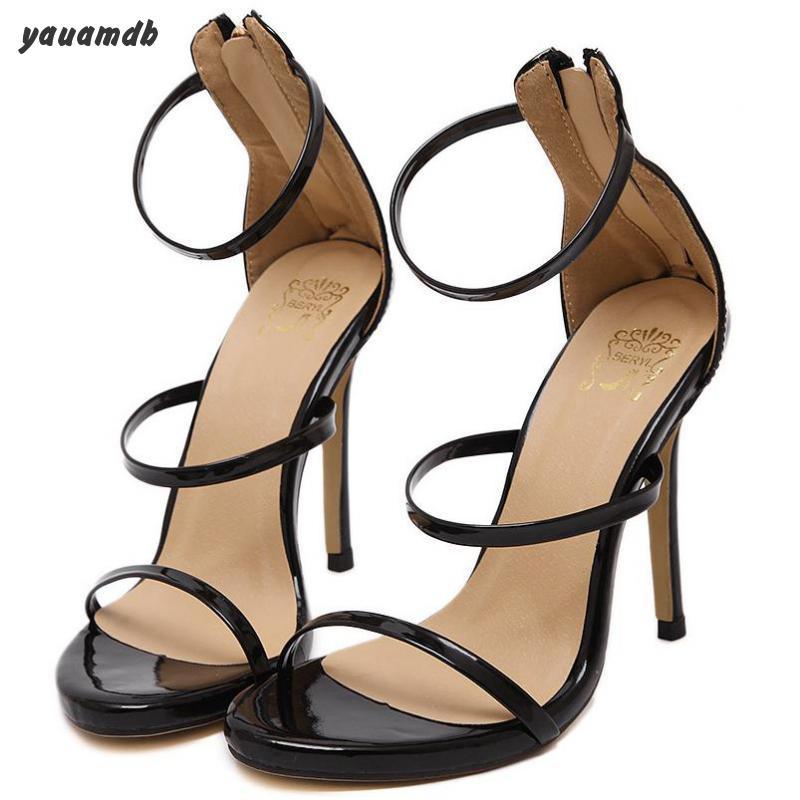 35-40 women strappy high heel sandals summer female platform Golden Silver sandals ladies 11cm thin heels Wedding Pumps y60(China (Mainland))