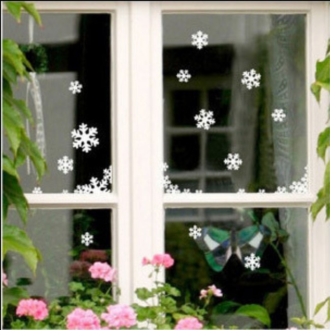 2015 White Snowflake stickers christmas decoration Wall Stickers the windows paste wedding decoration 55pcs/set adornos navidad(China (Mainland))