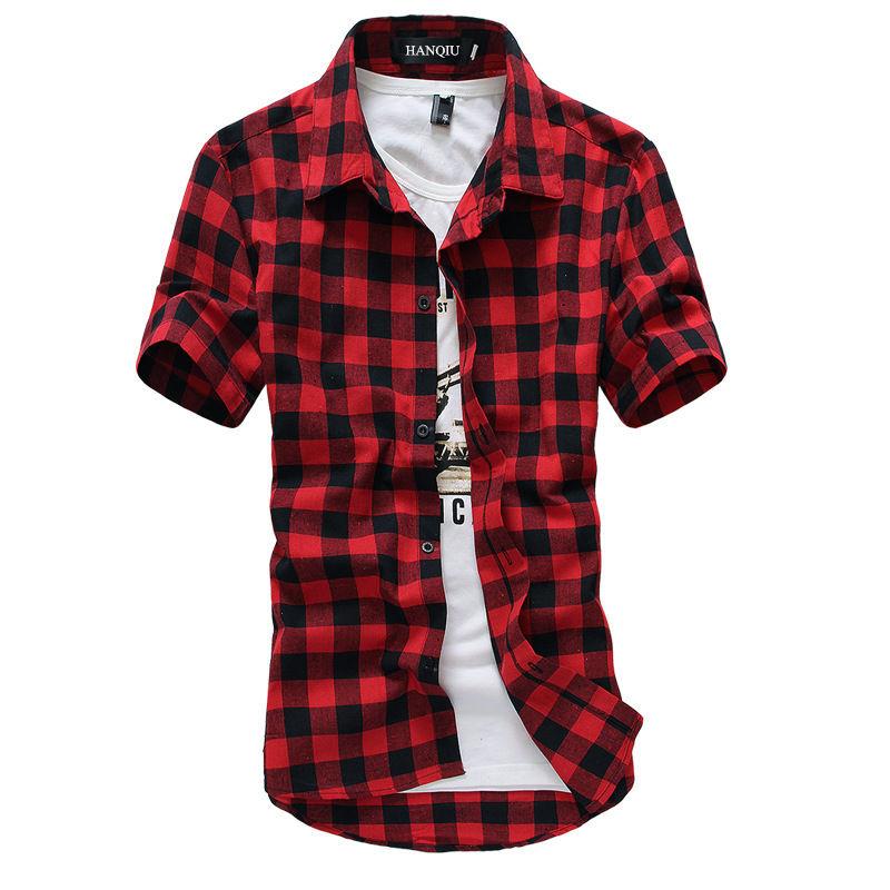 Red Black Plaid Shirt Men Shirts 2017 New Summer Fashion Chemise Homme Mens Checkered Shirts Short Sleeve Shirt Men Blouse