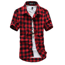 Buy Red Black Plaid Shirt Men Shirts 2017 New Summer Fashion Chemise Homme Mens Checkered Shirts Short Sleeve Shirt Men Blouse for $6.01 in AliExpress store