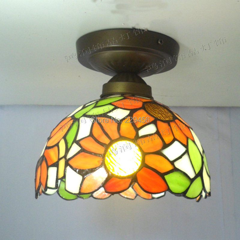 Tiffany Ceiling Light Stained Glass Lampshade Country Style Sunflower Living Room Lamparas Luminaria E27 110-240V(China (Mainland))