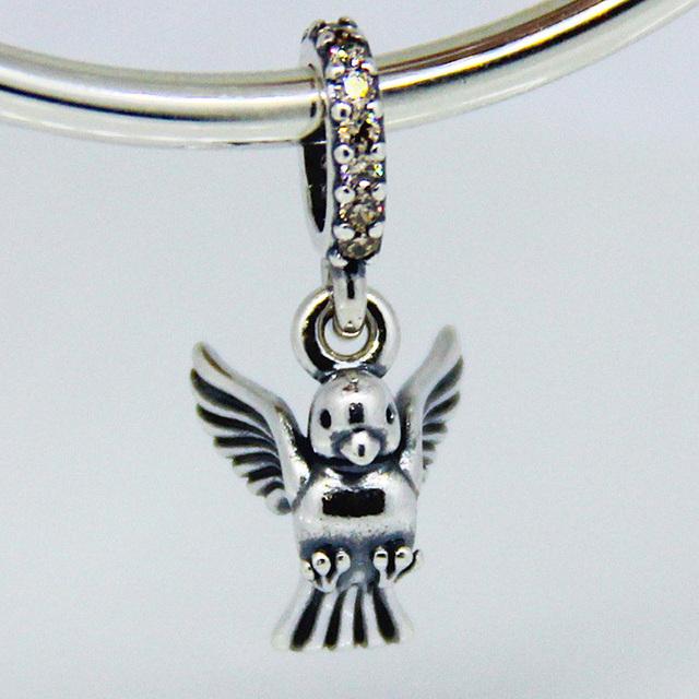 Подходит пандоры прелести ожерелье браслет подлинная стерлингового серебра 925 бусины летящая птица кристалл шарм DIY ювелирных изделий бесплатная доставка