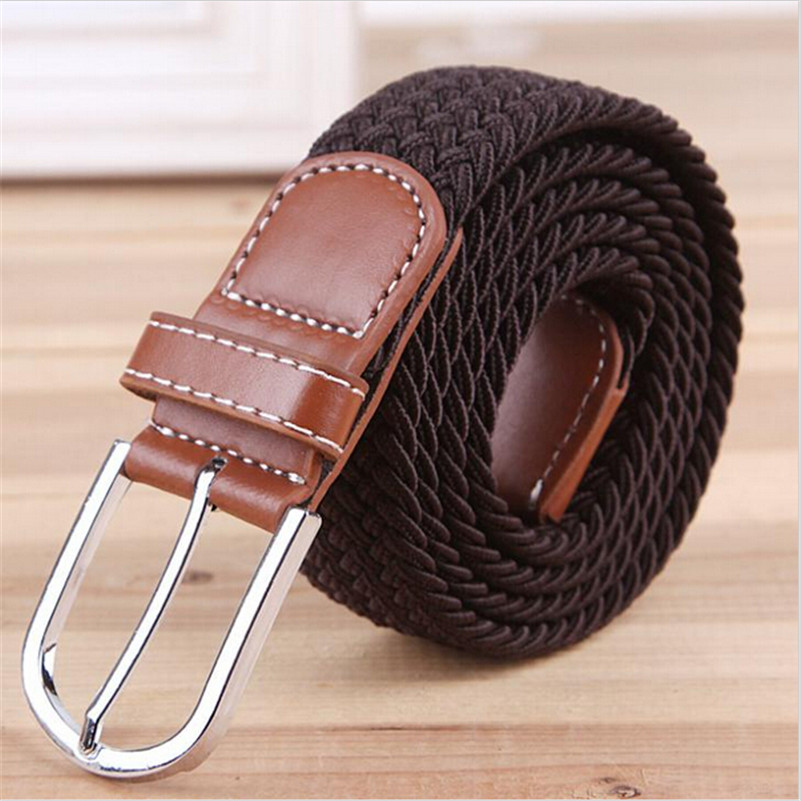 Гаджет  2014 New Fashion Elastic Waistband Woven Canvas Belt Men Women Wild Casual Belt Buckle Korean Strap T173 None Одежда и аксессуары