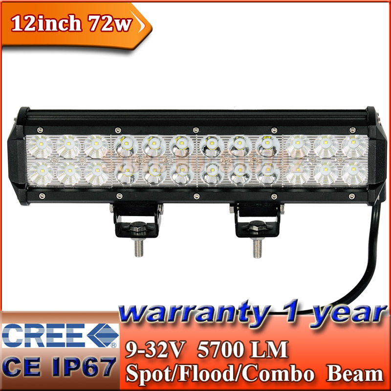 "12"" 72W CREE LED Light Bar Truck Trailer 4x4 4WD SUV ATV Off-Road Car 9-32v Work Working Lamp Pencil Spread Beam(China (Mainland))"