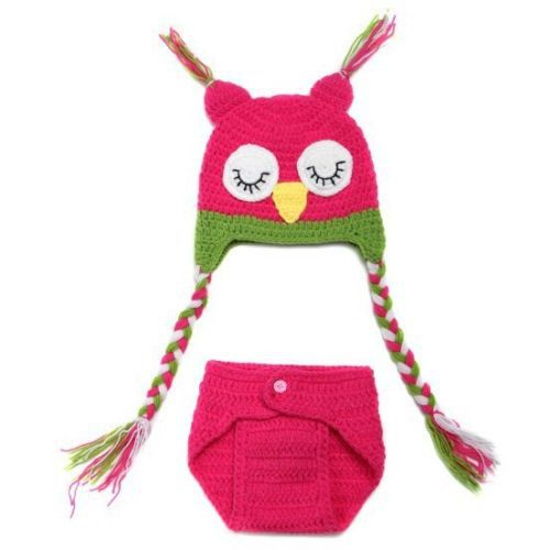 Baby Newborn Girl Infant Knit Crochet Pink Owl Clothes Costume Photo Prop Outfit(China (Mainland))