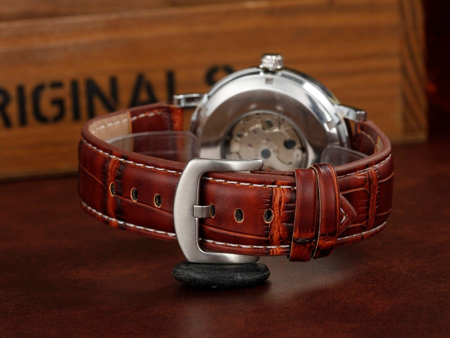 ГРУ марка кожа техники мода Скелет мужчины Наручные часы мужские Автоматические Часы водонепроницаемый Световой