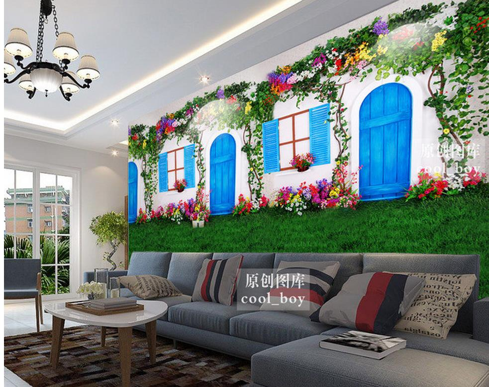 3d wallpaper pvc European style white doors and windows flowers vines grass background wall floor 3d wallpaper(China (Mainland))