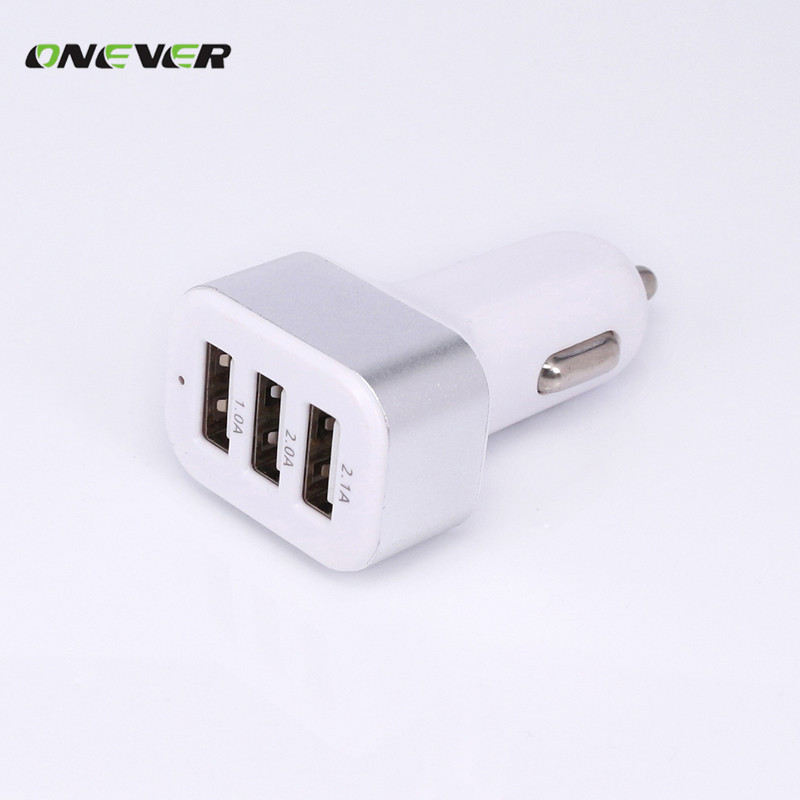 Triple Universal USB Car Charger 3 Port Car charger Adapter Socket 2.1A 1A 2A Car Styling USB Charger For Car-Styling(China (Mainland))