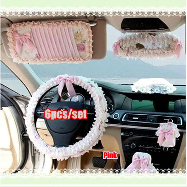 Фотография NEW Flower princess senior silk cotton lace steering wheel cover for women interior decoration luxury car seat cover universal
