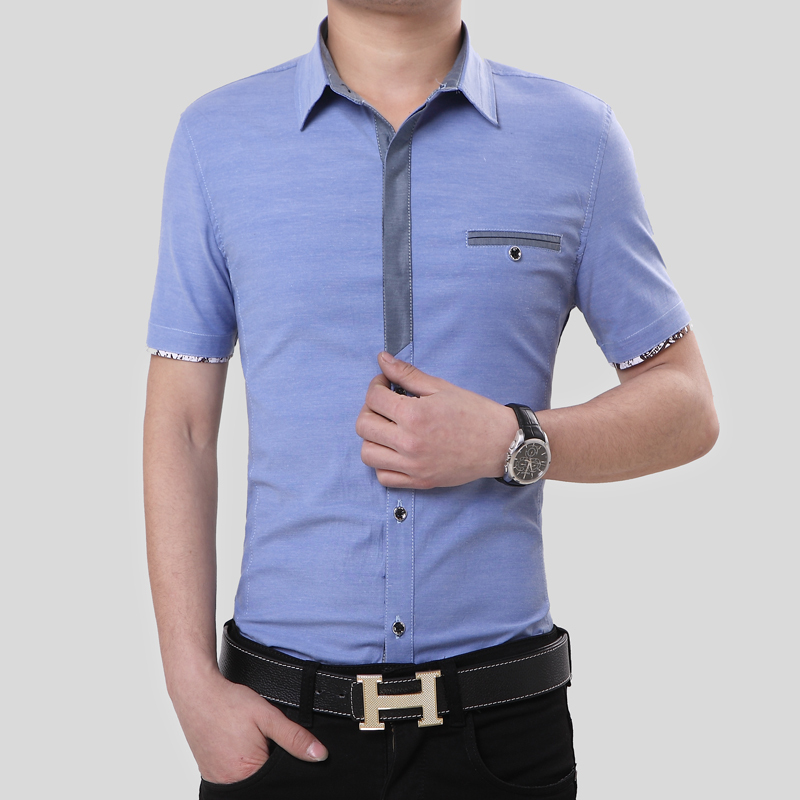 2016 new arrival summer style men 39 s clothes slim fit short for Fitted short sleeve dress shirts for men