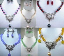 DYY Jewelry 00850 fine green/purple/yellow/red jade pink/black pearl necklace pendant can choose (A0423)(China (Mainland))