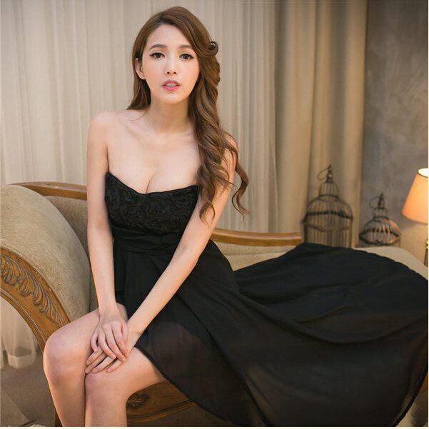 Strapless flower Dress with chiffon behaved woman dress summer sexy dress party Multicolor White Black Pink Free shipping(China (Mainland))
