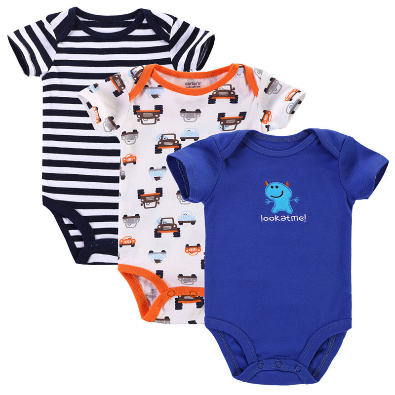 3pcs/lot Baby Romper Short Sleeve Cotton Baby Boy Girl Clothes Infants Wear Baby Clothing