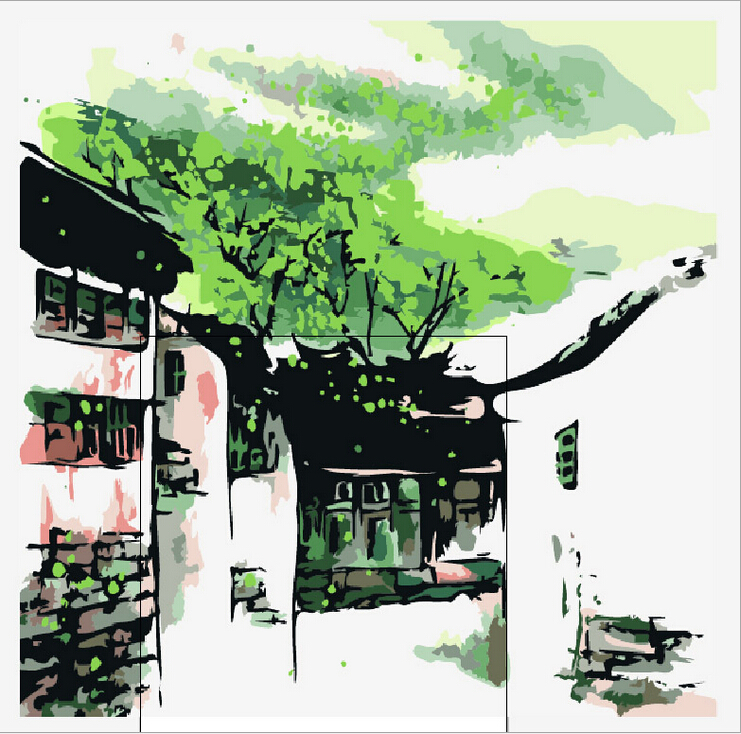 Frameless pictures painting by numbers diy digital oil for Decoration list mhw