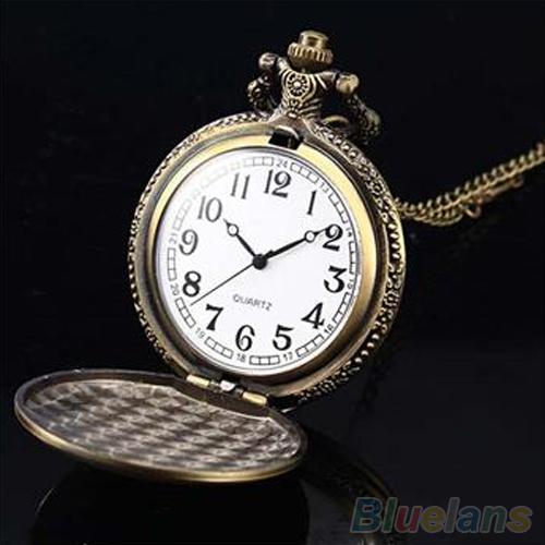 Retro Vintage Unique Bronze Quartz Pendant Chain Necklace Clock Pocket Watch 1L2O 2XH2
