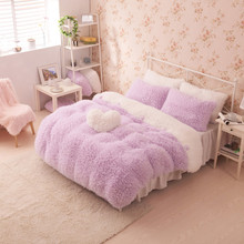 pink color bedclothes princess girls bedding set for Full-size bed velvet winter duvet cover sets bed sheet(China (Mainland))