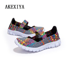 Women Shoes spendex woven upper  Breathable Flats Shoes woman supper light sport casual shoes(China (Mainland))