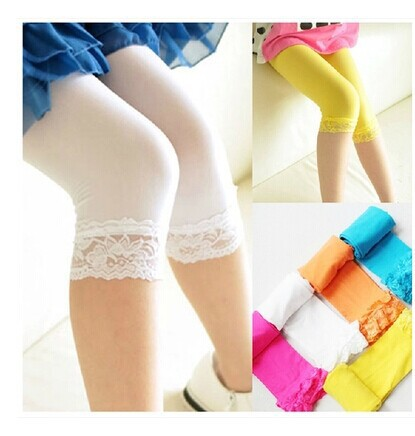 Free ship 10pc 2015 new arrival girls candy color lace tights baby girl fashion tights children summer silk tights for 2-10Year
