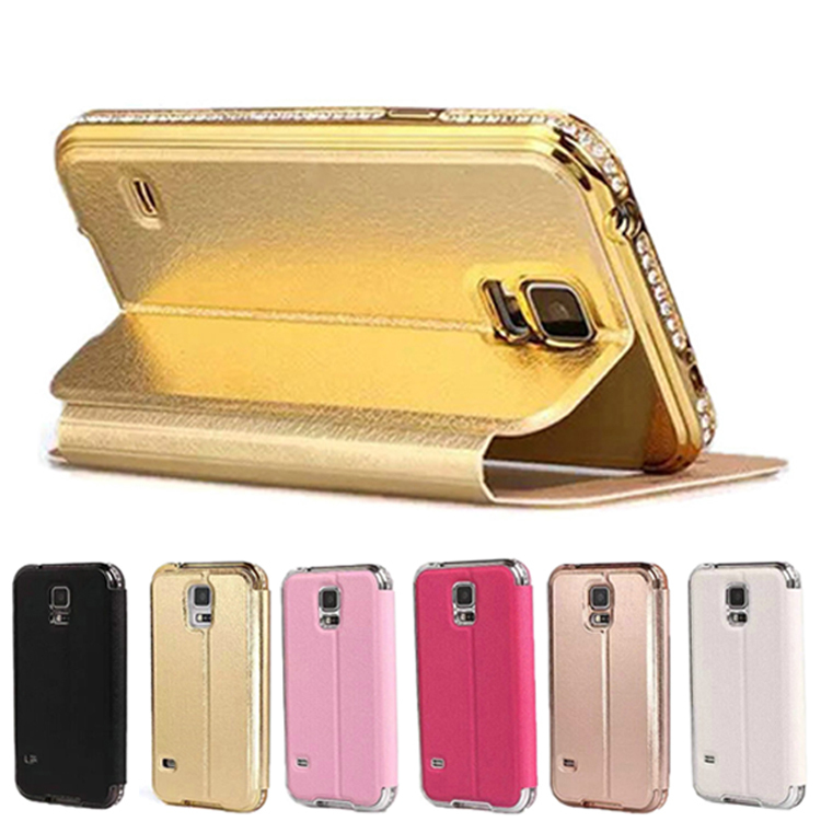 Luxury Bling Crystal Diamond Rhinestone Metal Frame Border + Flip Leather Holster Hold Stand Case For Samsung Galaxy S5 i9600(China (Mainland))