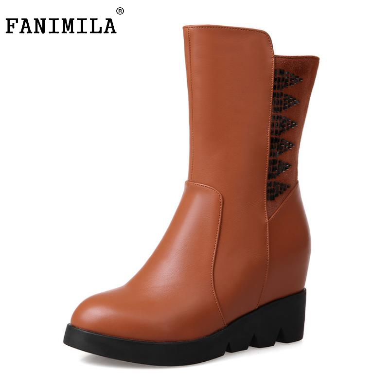 Women Round Toe Half Short Boots Woman Fashion Height Increasing Martin Boot Ladies Buckle Heel Footwear Shoes Size 34-39