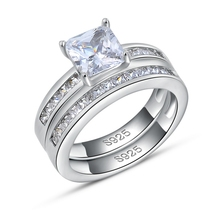 Fashion Engagement Ring,AAA Austria Crystal,925 Sterling Silver with Platinum Plated,2 Pieces/SET WR28