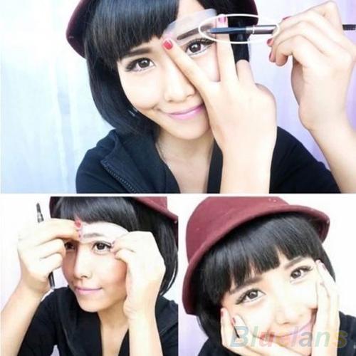 3 pçs/lote durável sobrancelha cartão de sobrancelha maquiagem Stencil modelo de desenho assistente