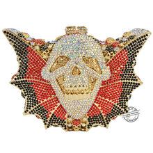 Роскошная ручная Сумочка с кристаллами женские вечерние сумки в форме летучей мыши череп, хеллоумас сумка со стразами для выпускного вечер...(China)