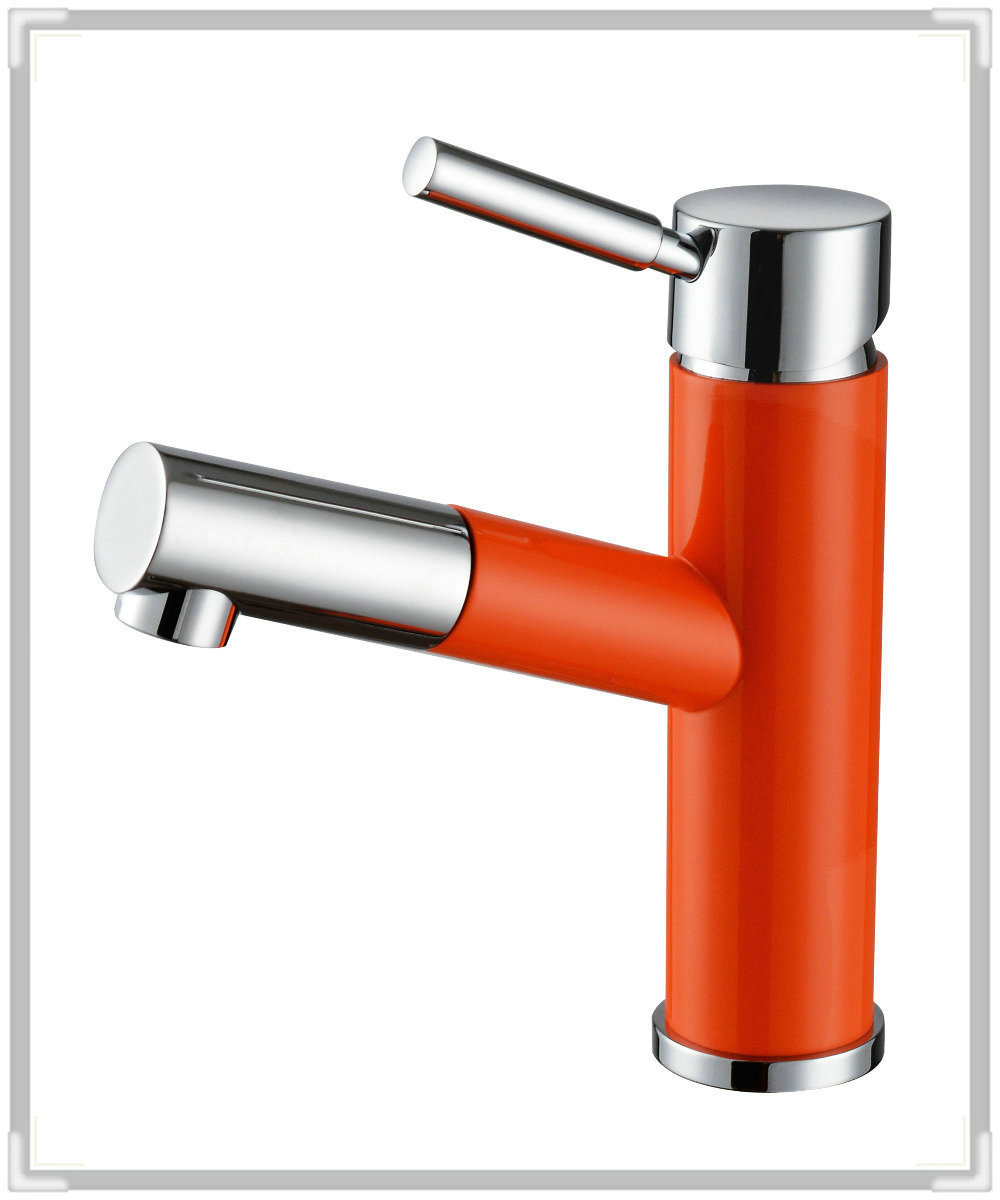 Deck mounted orange paint chrome brass pull out spray - Bathroom sink faucet with sprayer ...