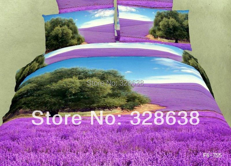 Purple lavender floral print ikea cotton bedding comforter for Ikea bed covers sets queen