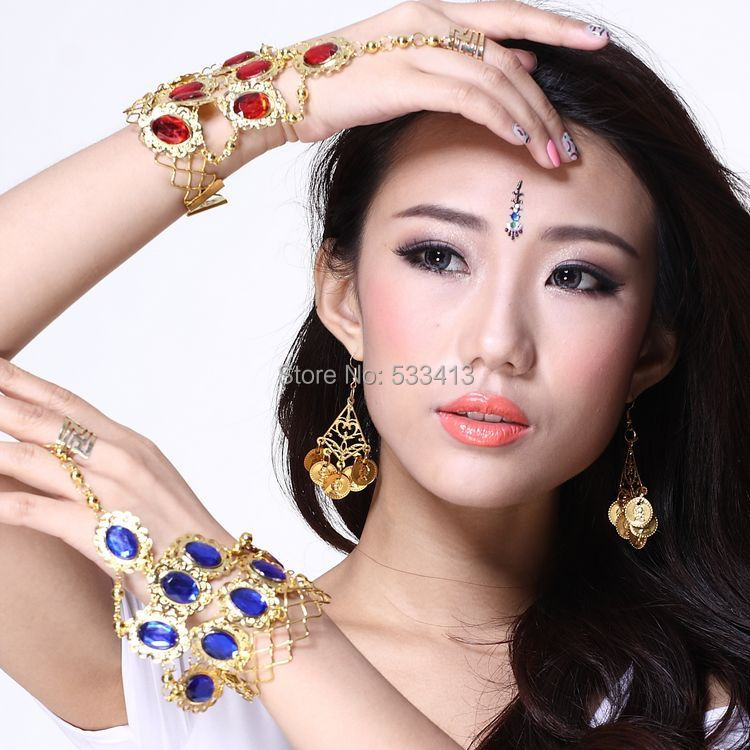 Belly dance accessories Belly dance gem ring bracelet indian dance accessories bracelet chain bracelets single(China (Mainland))