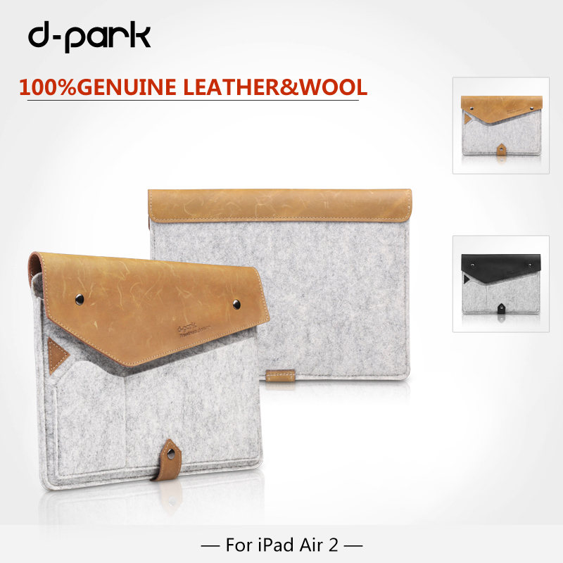 Free Shipping D-park Simple Style Wool Felt & Crazy horse leather sleeve Case For ipad air 2 bags For ipad pro 9.7 inch Tablet(China (Mainland))