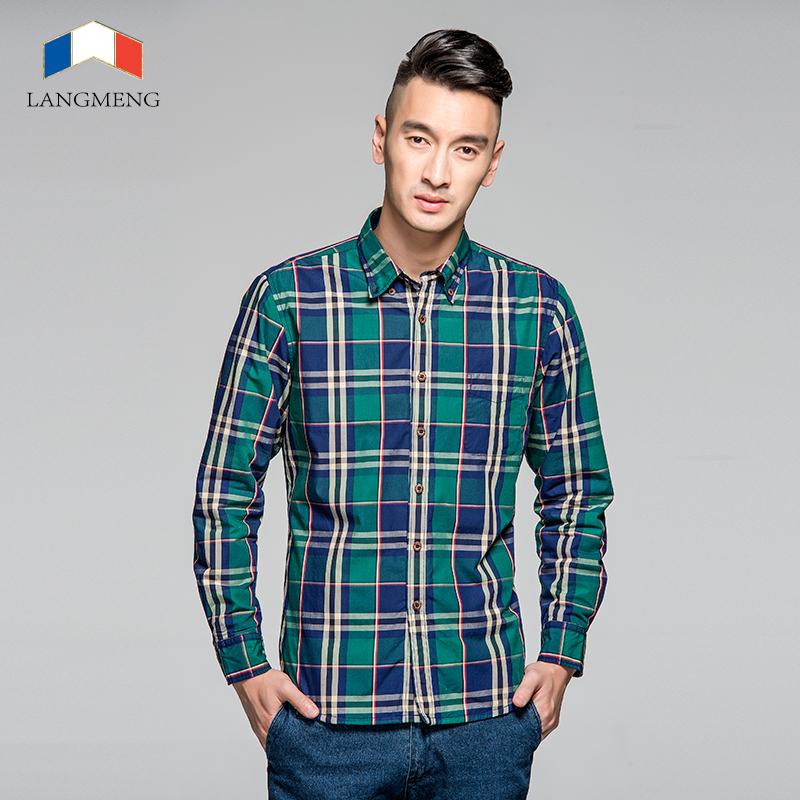 Langmeng 100% cotton plaid shirt men brand casual shirts slim fit mens Social dress shirt camisa masculina long sleeveОдежда и ак�е��уары<br><br><br>Aliexpress