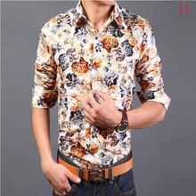 Hot sale!! fashion casual Floral slim cotton men's shirts ,good quality flowers printing men shirt, 14 colors Optional CY7(China (Mainland))