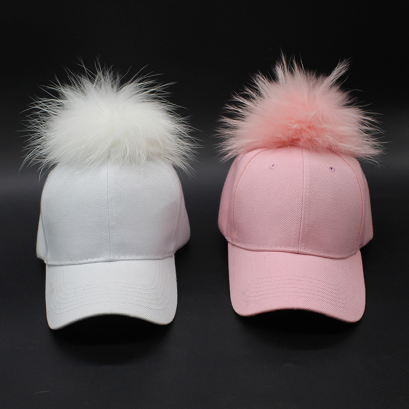 15cm Dyed Raccoon Fur Pom poms Hat Hip Hop Fur Ball Snapback Baseball Caps Curved Cap Fitted Trucker Hats For Women(China (Mainland))