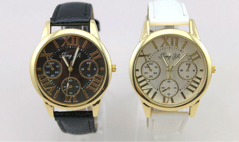 Freeshipping 500pc/lot high quality Roman minute head Promotion watch,JING YI logo with precise  quartz movement,pu leather band<br><br>Aliexpress