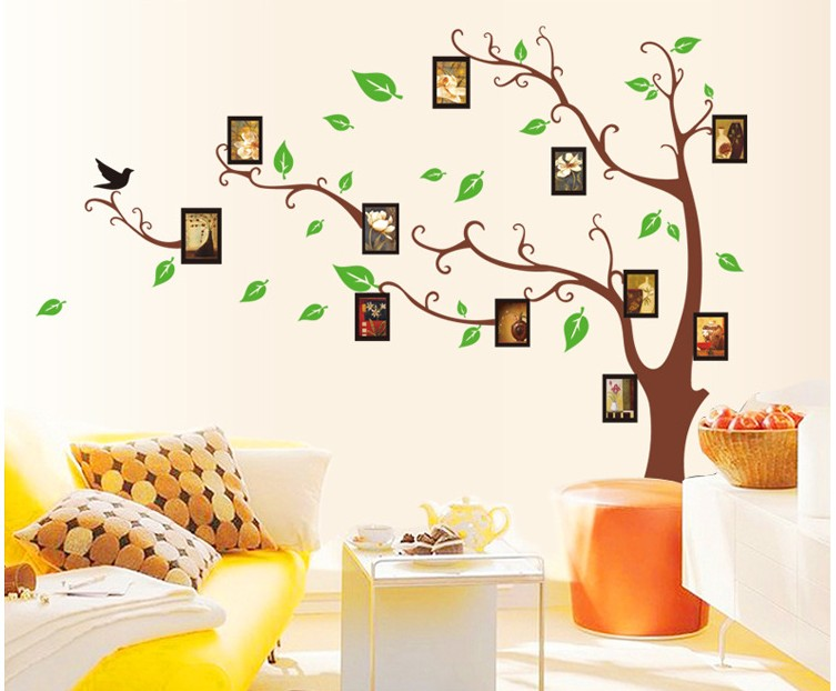 novelty households tree frames wall art decoration vinyl stickers kids rooms furniture TV diy photo tree christmas mirror decals(China (Mainland))
