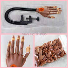 wholesale 5hands+500 tips Nail Trainer Tool Super Flexible Fingers Personal & Salon Adjustable Practice Hand Nail Training