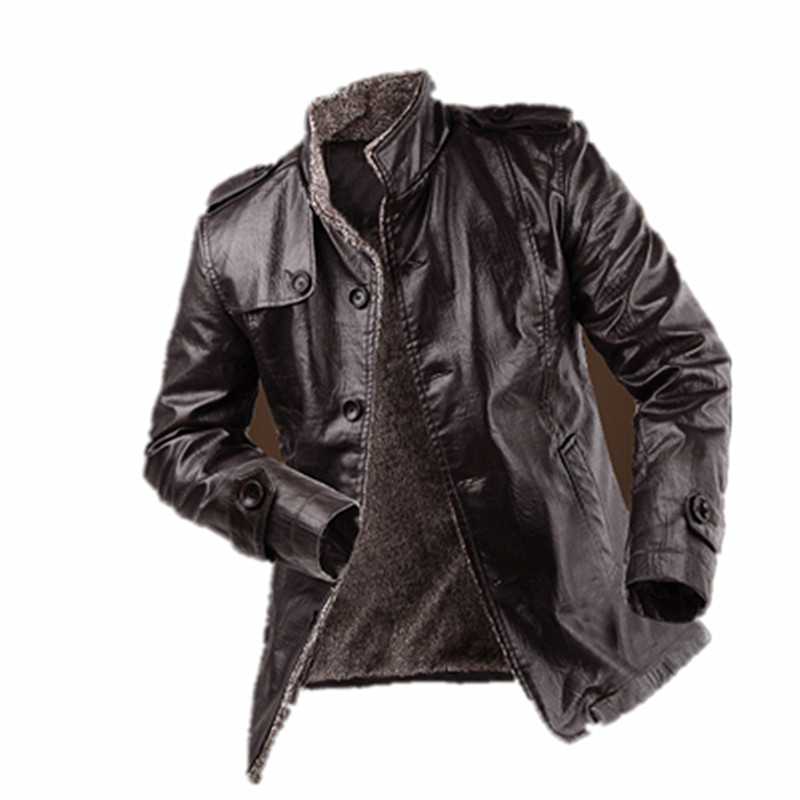 PU Leather Jacket Men Long Wool Leather Standing Collar Jackets Coat Men Leather Jackets With Outdoor Trench ParkaОдежда и ак�е��уары<br><br><br>Aliexpress