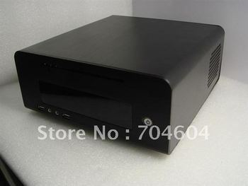 MINI-ITX HTPC CASE,Full aluminum alloy (black) DC-ATX PSU/3.5 HDD or 2.5 HDD support/