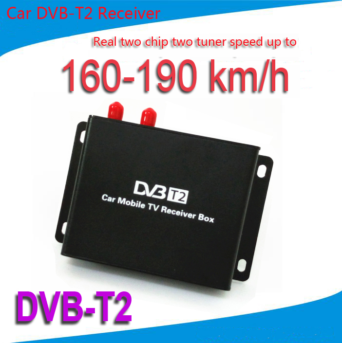 Mobile Car DVB-T2 Digital TV Receiver Real Two Chip Two Antenna Speed Up To 160-190km/h DVB T2 Car TV Tuner MPEG4 SD/HD 1080P(China (Mainland))