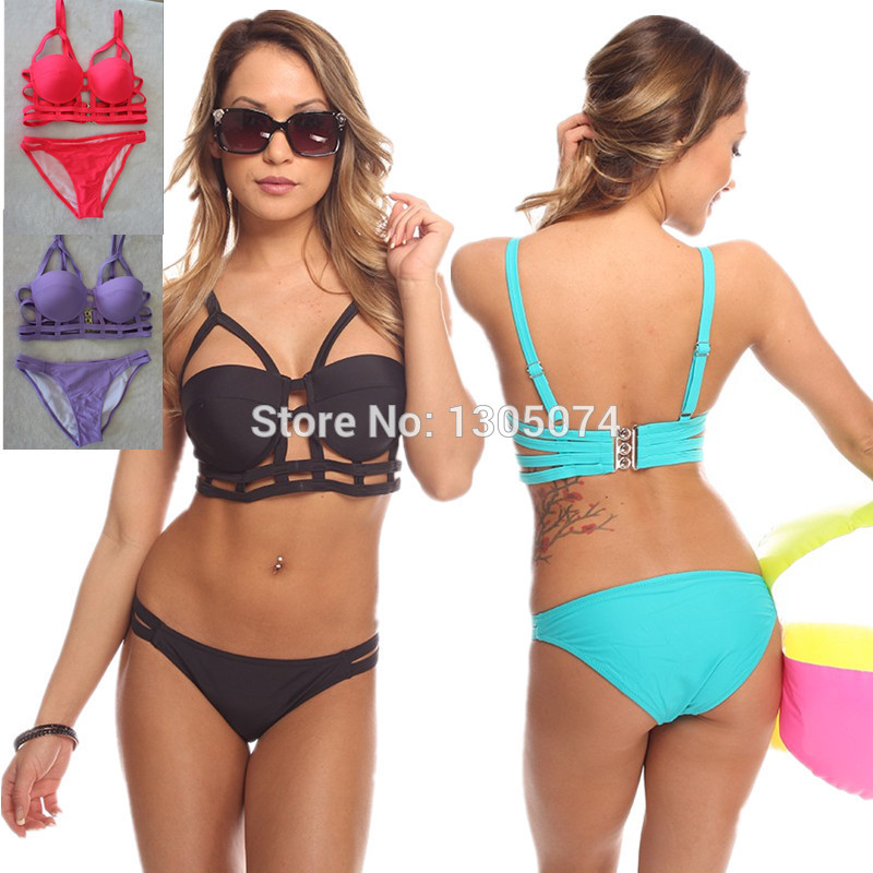 Simple Hip Design Two Piece Swim Suit Women Sexy Padded