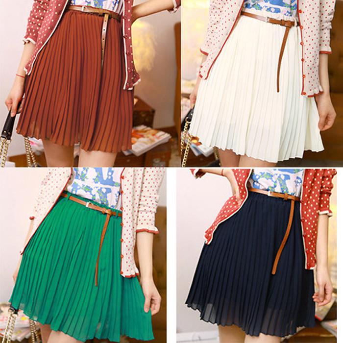 Summer Vintage Fashion Pleated Mini Skirts Sweet Girls Chiffon Waist Short skirts+Belt Designer Fresh Color Cool Clothing(China (Mainland))