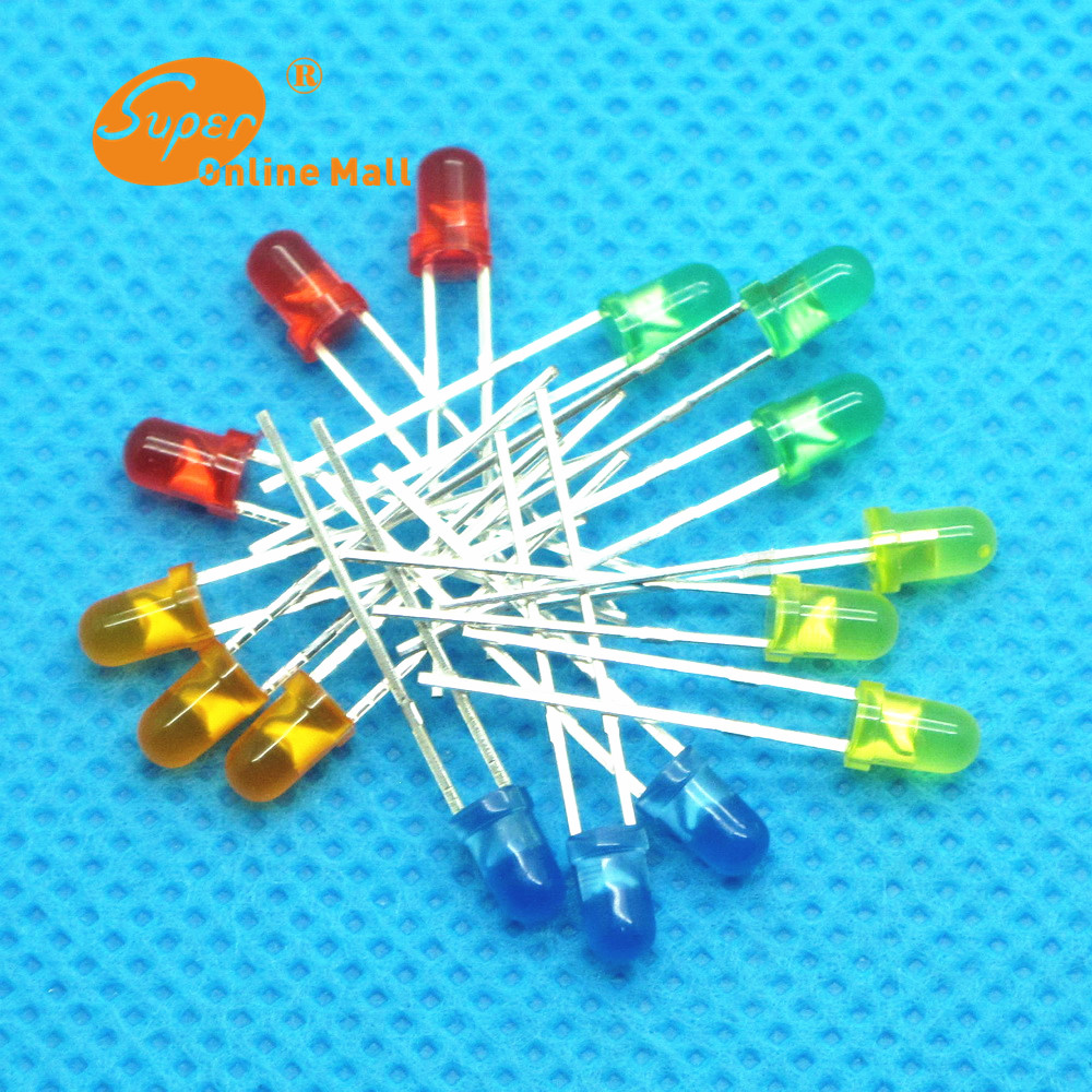 500Pcs/lot 3MM LED Diode Kit Mixed Color Red Green Yellow Blue Orange(China (Mainland))