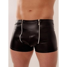 Hot Sale Underwear Man Black Sheath Vinyl Pants Sleepwear Lingerie 2016 Sexy Black Zipper Leather Men Boxers Underpants W850545