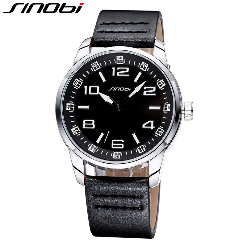 SINOBI Watches Men Luxury Brand Wristwatch Big Round Dial&amp;Arrow Hands PU Males Watch Relogio Masculino Fashion Analog Relojes<br><br>Aliexpress