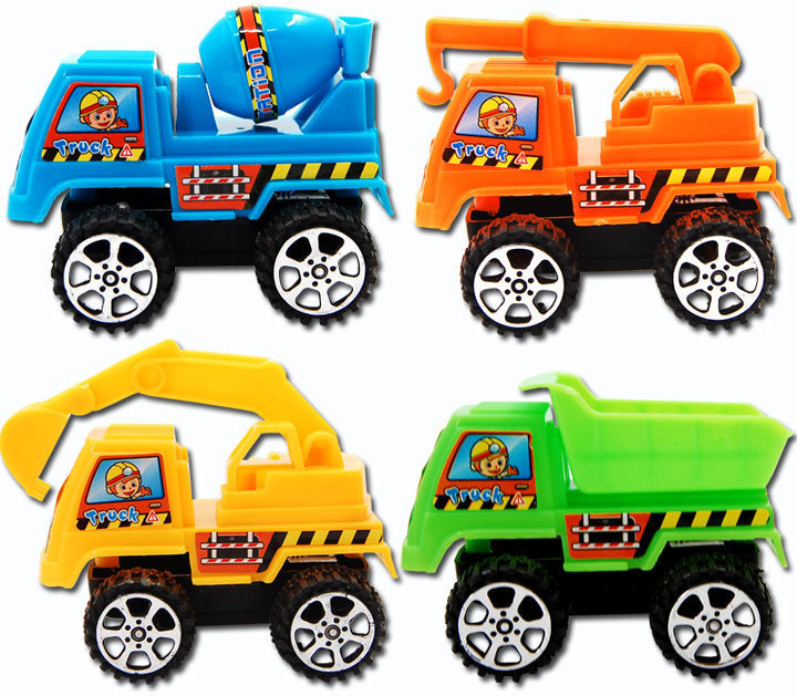 New crane excavator autotruck agitating lorry Kids plastic toys pull back to toy car truck Engineering construction car modle(China (Mainland))