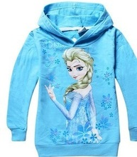 2014 New Spring Autumn baby clothing Olaf  Anna Elsa Hooded sweater Long Sleeve Cotton Children Outerwear kids clothing(China (Mainland))
