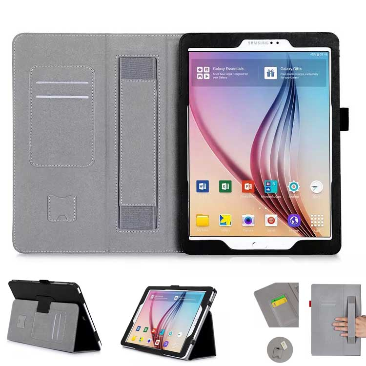 For Samsung Galaxy Tab S2 9.7 inch Tablet T815 Slim Folding Leather Stand Case Cover / Elastic Hand Strap / Stylus / ID Holder(China (Mainland))
