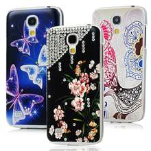 [Not for S4] Butterfly Flower Parrot Handmade Diamond Case For Samsung Galaxy S4 Mini i9190 Transparent Hard Back Cover Shell(China (Mainland))
